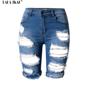 Denim Shorts Women 2016 Summer Knee Length High Waist Womens Sexy Ripped Shorts Cut Off Fitness Short Jeans Plus Size KWE0122-5