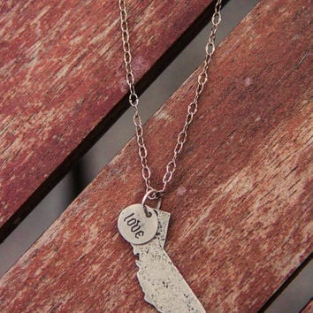 Brushed Silver Love California Necklace