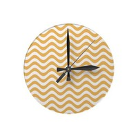 Beeswax Color And White Waves Pattern Round Clocks from Zazzle.com