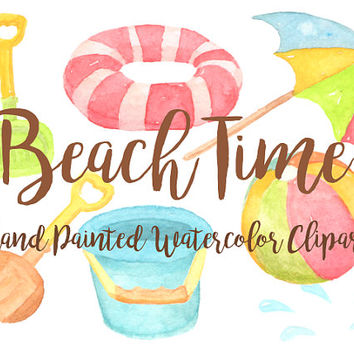 Beach Summer Party Watercolor Clipart Digital File beachball Download decoration digital kids birthday invitation pool