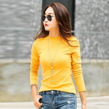 New T-shirts For Women Long Sleeve Cotton T Shirt  Ladies Winter Top Tee Solid Poleras Mujer Turtleneck Female T-shirt Camisetas