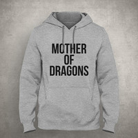 Mother of dragons - Gray/White Unisex Hoodie - HOODIE-069