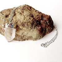 Crystal point necklace - Quartz Crystal Necklace - silver necklace