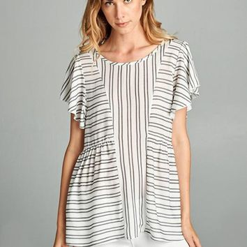 Double Stripes Flutter Sleeve Top