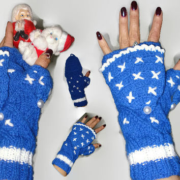 Blue Fingerles Convertible ,Gloves Fingerles ,Crochet Fingerles Gloves ,Blue Crochet Gloves Fingerless ,New Year's Gift ,Winter Accessories