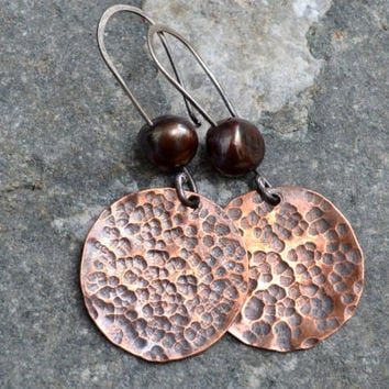 Copper Disc and Fresh Water Pearl Earrings, Sterling Silver, Modern Earrings, Textured, Mixed Metal Earrings, Gypsy, Trendy, Boho Jewelry