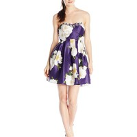 My Michelle Junior's Strapless Floral Fit and Flare Short Dress