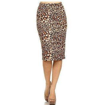 CREYCI7 2017 Hot Ladies New Fashion Women's Leopard Pencil Skirt High Waist Floral Grid Printing Middle Skirts Muti Colors