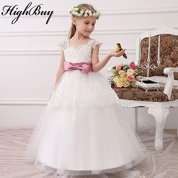 HighBuy 2017 Formal Party Formal Flower Girls Dress baby Pageant dresses Birthday Communion Toddler Kids TuTu  Dress for Wedding