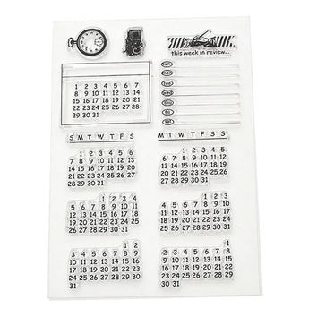 Calendar Week Month Transparent Clear Stamp Cling Sheet DIY Seal Craft Scrapbook