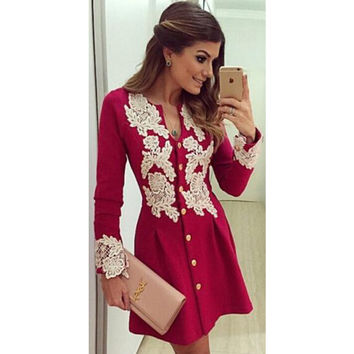 Women's Summer Casual Red V-Neck Button Long Sleeved White Lace Patchwork Mini Dress