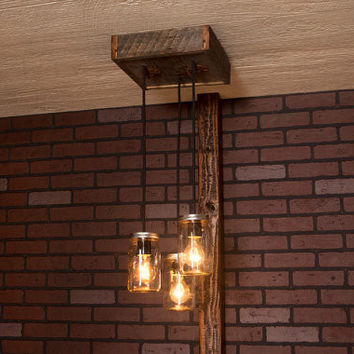 Mason Jar Chandelier made with Reclaimed Wood and 3 Pendants