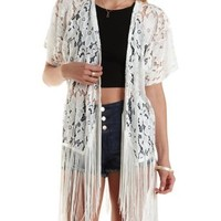 Floral Lace Fringe Kimono by Charlotte Russe