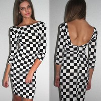 sale MONOCHROME CHECK SCOOP CUT OUT BACK BACKLESS MIDI BODYCON DRESS 6 8 10 12