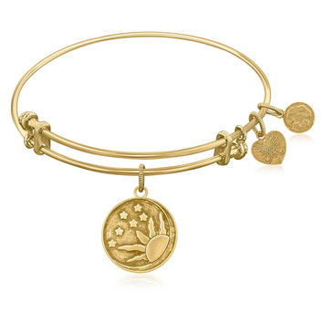 Expandable Bangle in Yellow Tone Brass with Sun, Moon And Stars Symbol