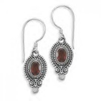 Oval Faceted Garnet French Wires