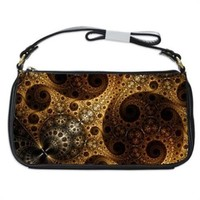 Steampunk Eternity Fractal Handbag Shoulder Bag Black Leather