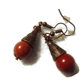 Aztec Indian Red Jasper Semiprecious Stone Dangle Earrings 109