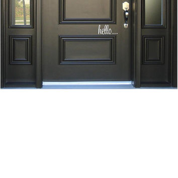 "hello...goodbye... Door Decal Set-3""h x 6""w-Vinyl Lettering Decal-Wall Words Decal-Front Entry Decal-Home Decor-Graphic Art Decal"