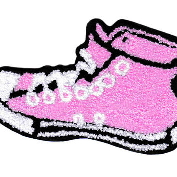 XL Extra Large Vintage Style Chenille Pink High Hi Top Basketball Star Sneaker Shoe Patch Badge (14cm)