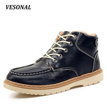 VESONAL Winter PU leather Snow Boots Men Shoes Casual Warm Velvet Male Ankle Boot Western Patchwork Footwear High Quality 828