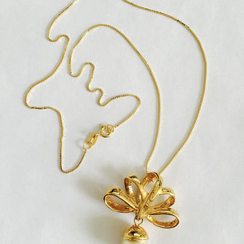 "Stunning, Signed Nolan Miller 1990's Gold Toned Bow Pendant with Large Faux Pearl, Beautiful and Elegant Pendant on 18"" Vermeil Box Chain"