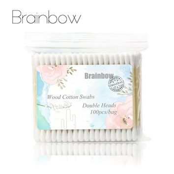300pcs (3packs)Double Head Cotton Swab Women Makeup Cotton Buds Tip For Medical Wood Sticks Nose Ears Cleaning Health Care Tools