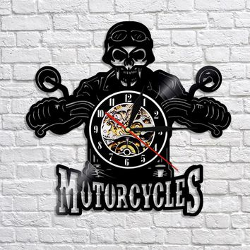 1Piece Motorcycles Biker Skull 3D Vinyl Record Art Wall Clock With Atmosphere Lamp Home Decor Watch Clock
