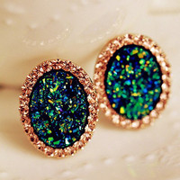 Rhinestone + Green Stud Earrings