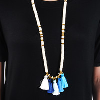 The Estella Necklace - White/Blue