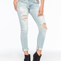 Machine Destroyed Rolled Cuff Womens Skinny Jeans Light Blast  In Sizes