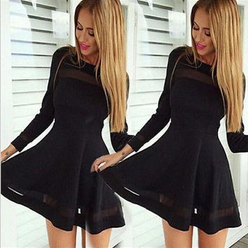Black Patchwork Grenadine Draped Cocktail Party Mini Dress