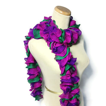 Ruffle Scarf - Hand Knit Scarf - Hot Pink Purple Green