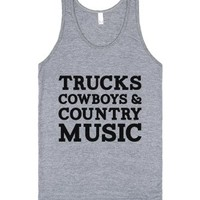 Trucks Cowboys And Country Music-Unisex Athletic Grey Tank