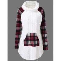 Cable Knit Plaid Trim Sweater
