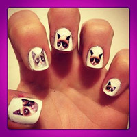 Grumpy Cat Nail Decals Transfer Nail Stickers
