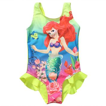 Cute Kids Baby Girls Toddler Mermaid Ruffles Sleeve Beachwear Swimsuit Swimwear One-Piece Suits Bathing Suit Bikini Tankini 3-8Y
