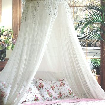 White Bed Canopy with Silver Sequinned Valance for Double, Kingsize , Queensize Bed