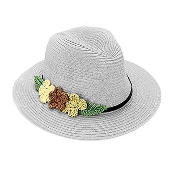 Beatnix Fashions Gray Triple Flower Trim Straw Fedora Hat