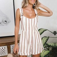 Casual striped short dungarees women jumpsuits Strap cotton linen rompers Backless casual beach overalls playsuit