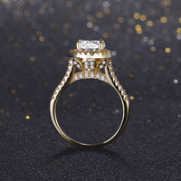 2016 new fasion jewelry real 925 sterling silver ring 18K gold plated engagement wedding rings AAAAA Cubic  zircon for women