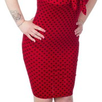 SWITCHBLADE STILETTO RED POLKA DOT DAME TIE DRESS