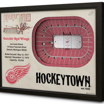 NHL Detroit Red Wings Hockey 3D Stadium View Wall Art Joe Louis Arena
