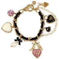 Betsey Johnson Bracelet, Gold-Tone Black Ribbon Glass Lovebird Multi-Charm Bracelet - Fashion Jewelry - Jewelry & Watches - Macy's