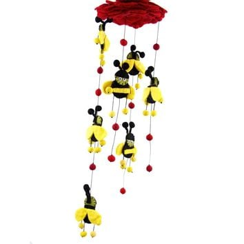 Red Felt Bumble Bee Baby Mobile