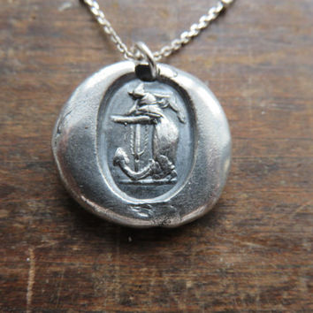 Anchor and Lady Pure Silver Antique Wax Seal and Sterling Silver Necklace ~ Faith. Hope. Nautical