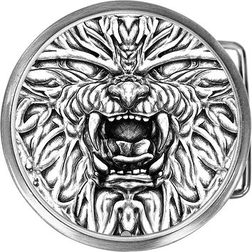 Black and White Lion Face Belt Buckle