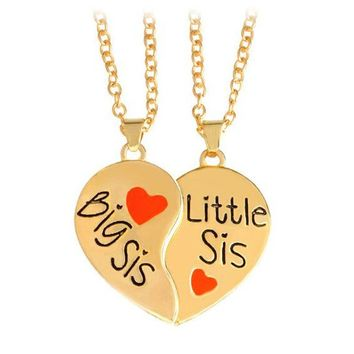 2pcs/set Big Sis & Little Sis Love Splicing Necklace BFF Sisters Necklace Forever Friendship Memorial Necklace Jewelry