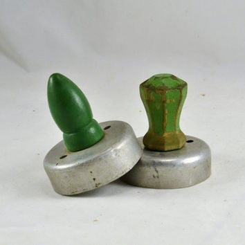 2 Biscuit Cutters - Green Wood Handles - Primitive Kitchen - Hoosier Cabinet Decor - Vintage 1930s / 1940s Cookie Donut Cutters