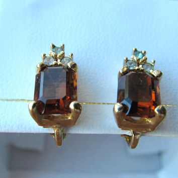 Christian Dior earrings vintage brown topaz glass clip on